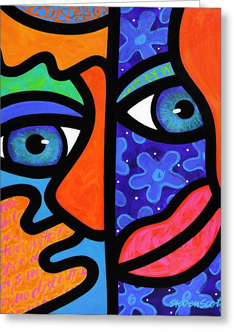 Abstract Faces Greeting Cards - The Answer is Three Greeting Card by Steven Scott