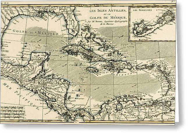 Geography Drawings Greeting Cards - The Antilles and the Gulf of Mexico Greeting Card by Guillaume Raynal