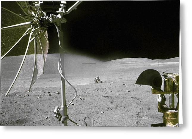 Roving Greeting Cards - The Apollo 16 Lunar Module Orion Greeting Card by Stocktrek Images