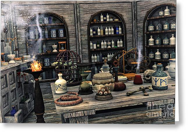 Scale Digital Art Greeting Cards - The Apothecary Greeting Card by Jutta Maria Pusl