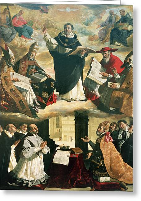 The Doctor Greeting Cards - The Apotheosis of Saint Thomas Aquinas Greeting Card by Francisco de Zurbaran