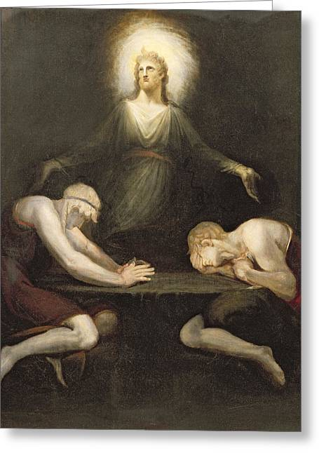 Appearances Greeting Cards - The Appearance of Christ at Emmaus Greeting Card by Henry Fuseli