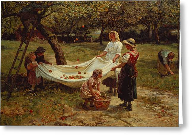 Countryside Greeting Cards - The Apple Gatherers Greeting Card by Frederick Morgan