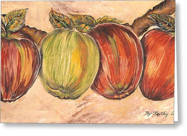 Decanters Paintings Greeting Cards - Through the Apple Vine Greeting Card by Kathy-Lou