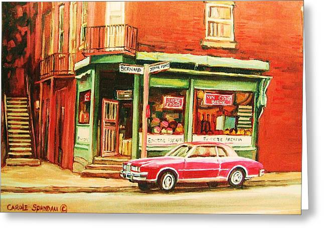 Montreal Pizza Places Greeting Cards - The Arcadia Five And Dime Store Greeting Card by Carole Spandau