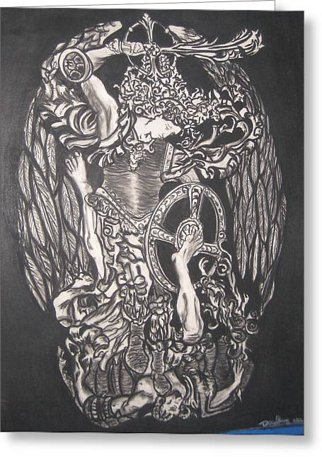 Archangel Drawings Greeting Cards - The Arch Angel Greeting Card by Darnillious Von Neegro