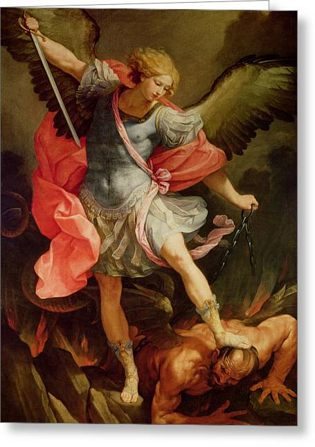 Drawn Greeting Cards - The Archangel Michael defeating Satan Greeting Card by Guido Reni