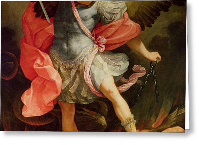 The Archangel Michael defeating Satan Greeting Card by Guido Reni