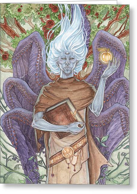 Yggdrasil Greeting Cards - The Archangel of Death Greeting Card by Angela Sasser