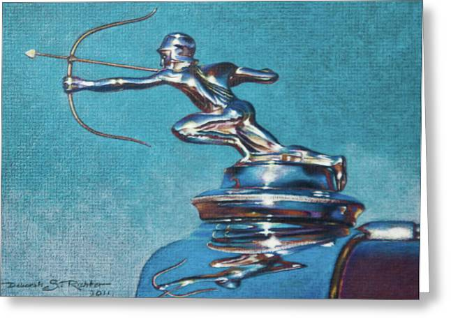 Vintage Hood Ornament Drawings Greeting Cards - The Archer Greeting Card by Deb Richter
