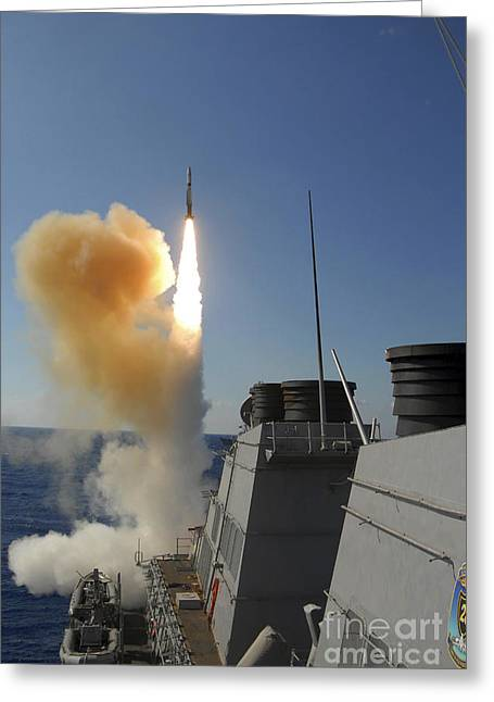 Sms Greeting Cards - The Arleigh Burke-class Guided Missile Greeting Card by Stocktrek Images