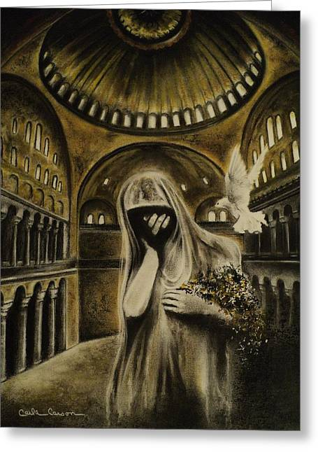 Ghost Hand Greeting Cards - The Arrival Greeting Card by Carla Carson