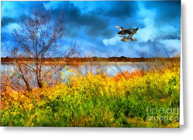 Flying Animal Digital Art Greeting Cards - The Arrival of Spring . 7D12643 Greeting Card by Wingsdomain Art and Photography
