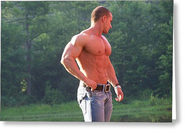 Fotoart By Jake Greeting Cards - The Art of Muscle  Lou Astri Greeting Card by Jake Hartz
