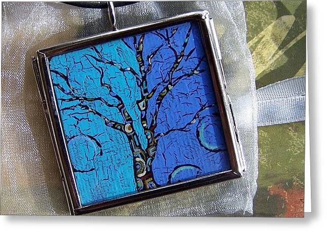 Blue Art Jewelry Greeting Cards - The Art Tree Attitude Greeting Card by Dana Marie