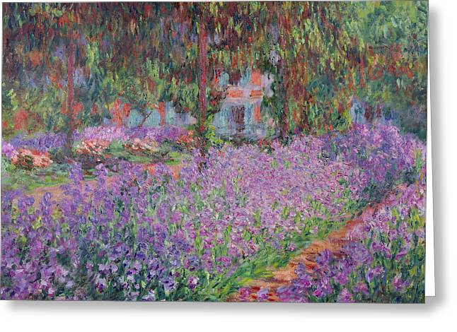 Purple Flowers Greeting Cards - The Artists Garden at Giverny Greeting Card by Claude Monet