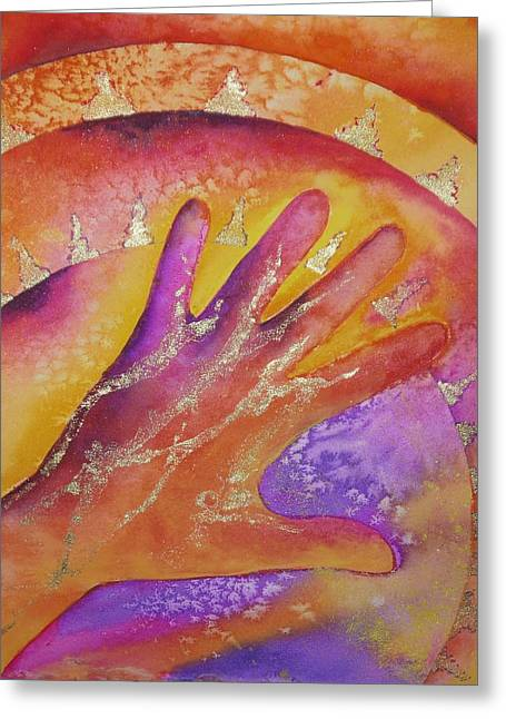 Wet Into Wet Watercolor Greeting Cards - The Artists Hand Greeting Card by Chris Blevins