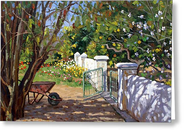 The Artist's Spring Garden Greeting Card by Roelof Rossouw