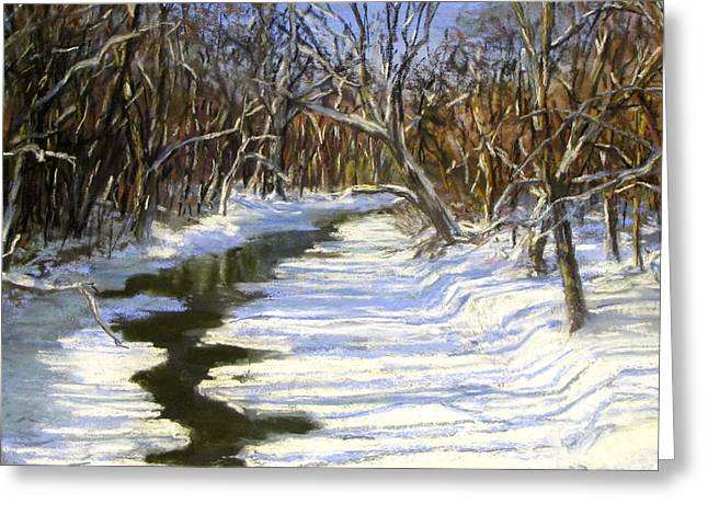Concord Massachusetts Pastels Greeting Cards - The Assabet River in winter Greeting Card by Jack Skinner