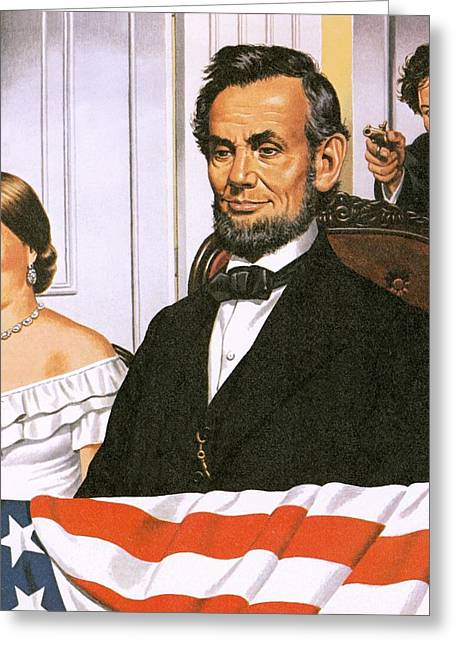 Abraham Paintings Greeting Cards - The Assassination of Abraham Lincoln Greeting Card by John Keay