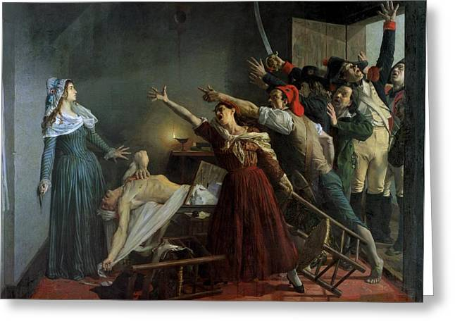 1768 Greeting Cards - The Assassination of Marat Greeting Card by Jean Joseph Weerts