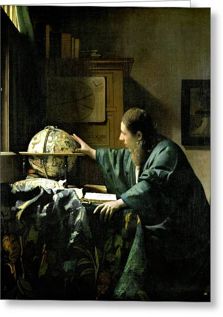 Astronomers Greeting Cards - The Astronomer Greeting Card by Jan Vermeer