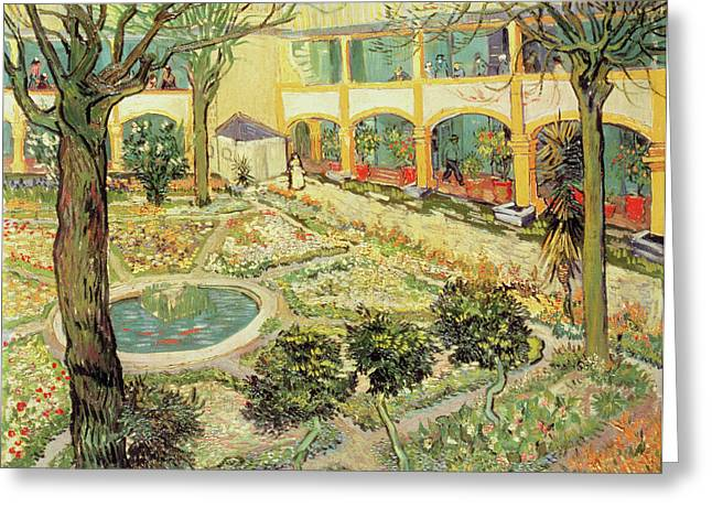 Asylum Greeting Cards - The Asylum Garden at Arles Greeting Card by Vincent van Gogh