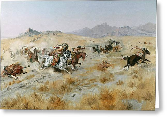 Travellers Greeting Cards - The Attack Greeting Card by Charles Marion Russell