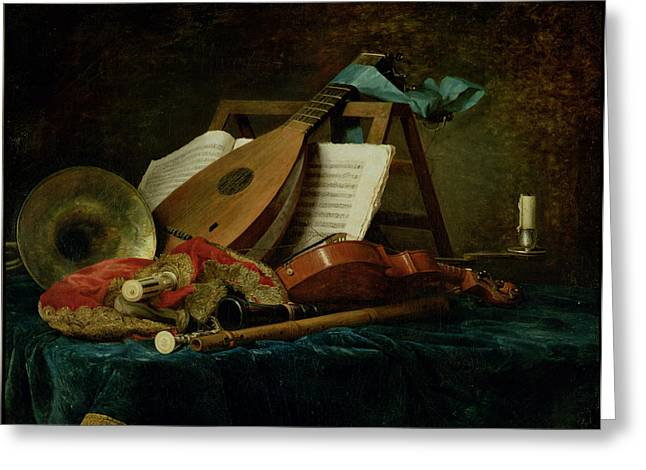 Interior Still Life Paintings Greeting Cards - The Attributes of Music Greeting Card by Anne Vallaer-Coster