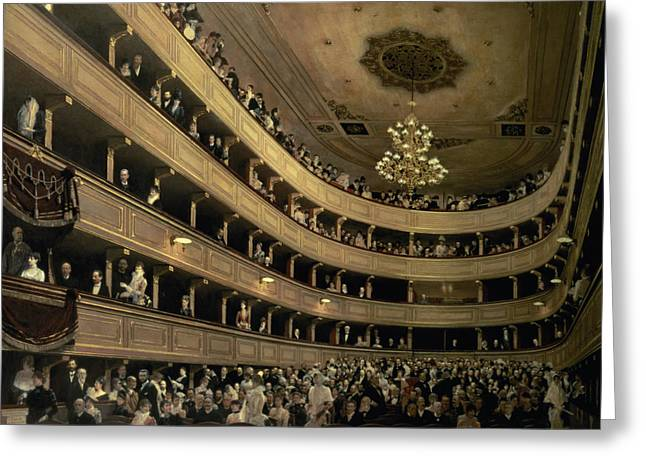 Chandelier Greeting Cards - The Auditorium of the Old Castle Theatre Greeting Card by Gustav Klimt