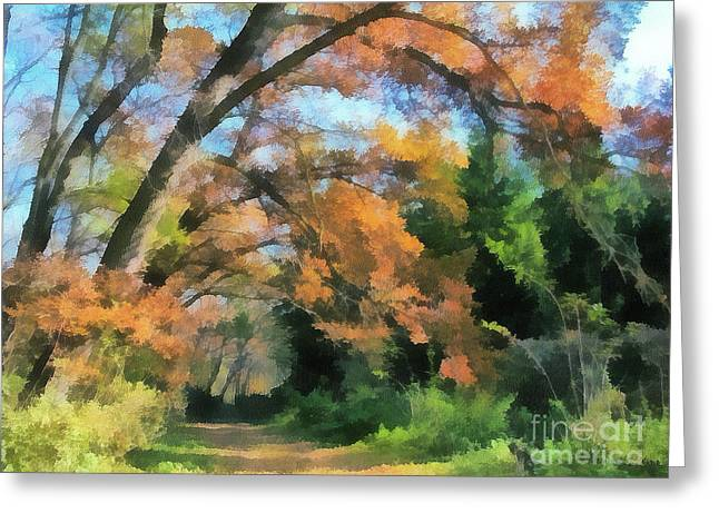 Best Sellers -  - Gold Lame Greeting Cards - The autumn forest Greeting Card by Odon Czintos