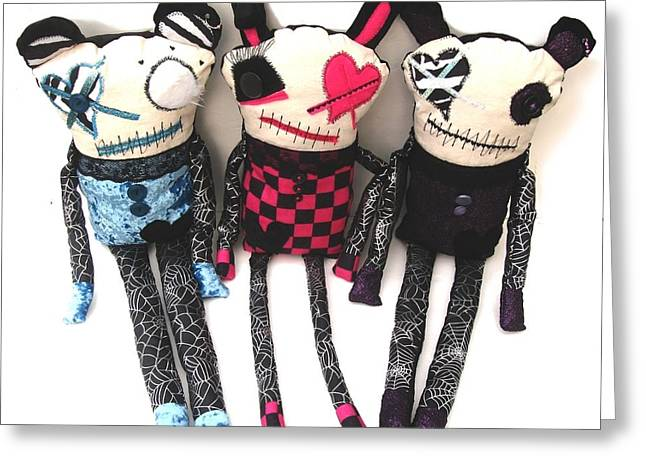 Doll Sculptures Greeting Cards - The Ax Trio Greeting Card by Oddball Art Co by Lizzy Love