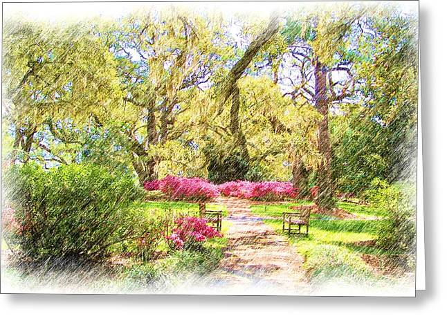 Moss Pastels Greeting Cards - The Azalea Garden Greeting Card by Janet Pugh