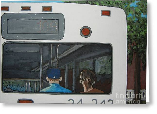 Montreal City Scenes Paintings Greeting Cards - The Back of the Bus Greeting Card by Reb Frost