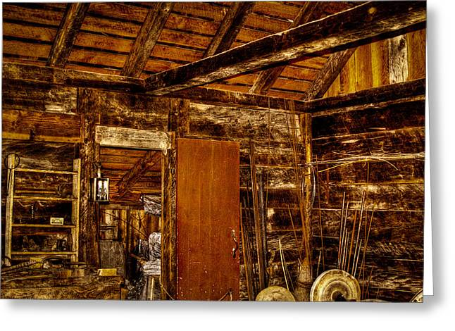 Stockade Greeting Cards - The Back Room of the Blacksmith Shop Greeting Card by David Patterson
