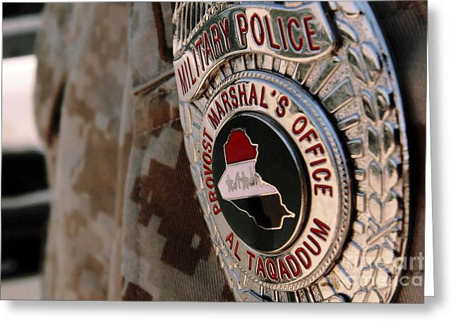 Military Police Greeting Cards - The Badge Of A Military Police Officer Greeting Card by Stocktrek Images