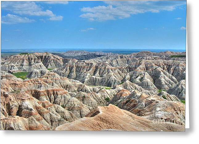 As Far As The Eye Can See Greeting Cards - The Badlands Greeting Card by Anthony Wilkening