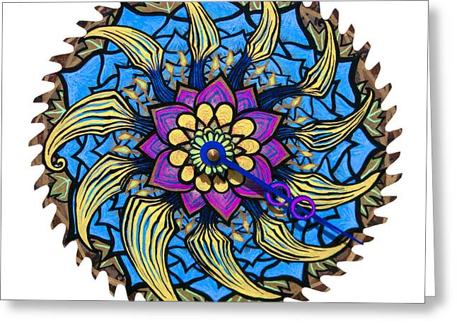 Saw Mixed Media Greeting Cards - The Bailey-Biscus Clock Blossom Greeting Card by Jessica Sornson