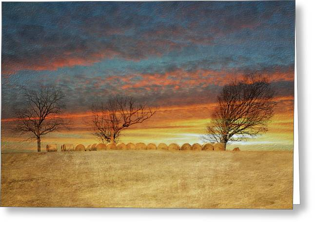 Bailing Hay Greeting Cards - The Bailing Is Done Greeting Card by Kathy Jennings