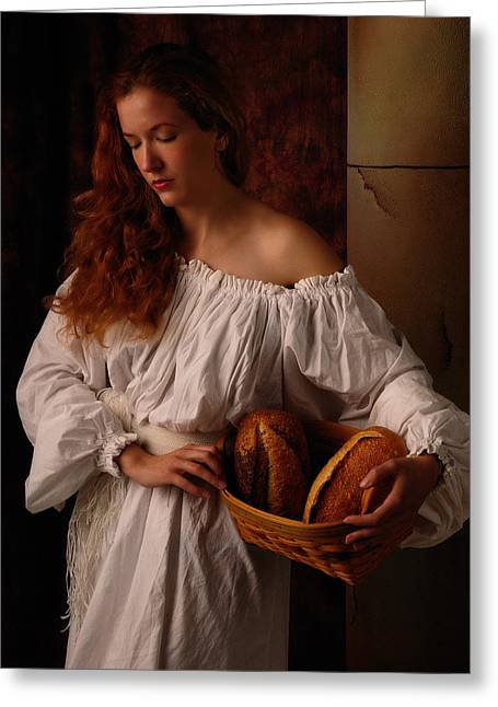 Rembrandt Lighting Greeting Cards - The bakers wife Greeting Card by Dick Wood