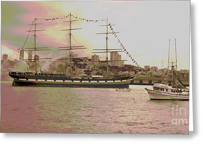 Historic Schooner Greeting Cards - The Balclutha Leaves Pier 41 Greeting Card by Padre Art