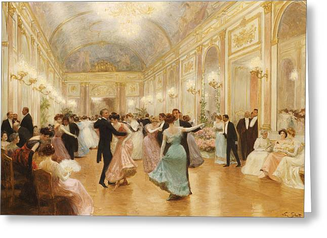 Dancing Greeting Cards - The Ball Greeting Card by Victor Gabriel Gilbert