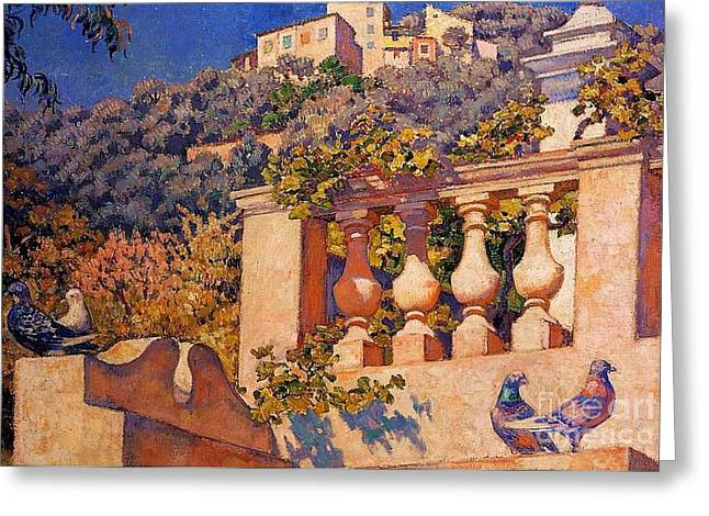 The Balustrade Greeting Card by Pg Reproductions