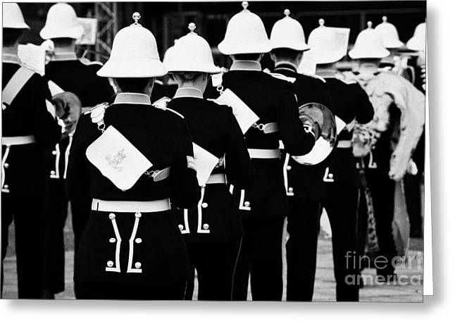 Marching Band Greeting Cards - the band of HM Royal Marines Scotland at Armed Forces Day 2010 in Bangor County Down Greeting Card by Joe Fox