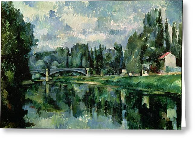 1906 Greeting Cards - The Banks of the Marne at Creteil Greeting Card by Paul Cezanne