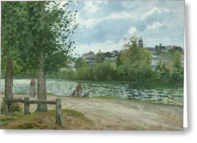 The Banks Of The Oise At Pontoise Greeting Card by Camille Pissarro