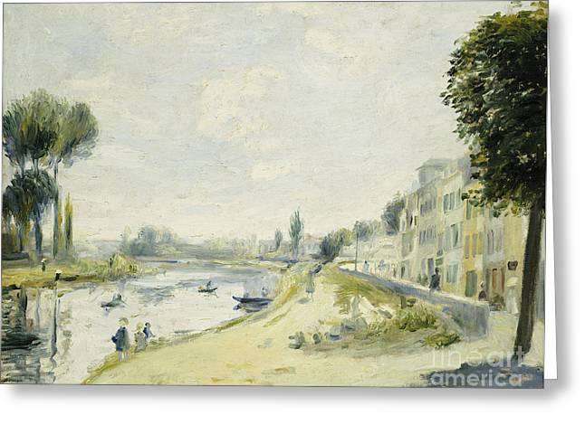 Renoir Greeting Cards - The Banks of the Seine at Bougival Greeting Card by Pierre Auguste Renoir