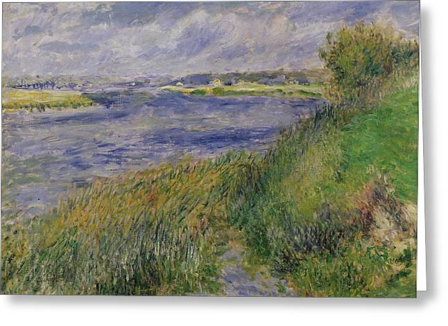 Renoir Greeting Cards - The Banks of the Seine Champrosay Greeting Card by Pierre Auguste Renoir