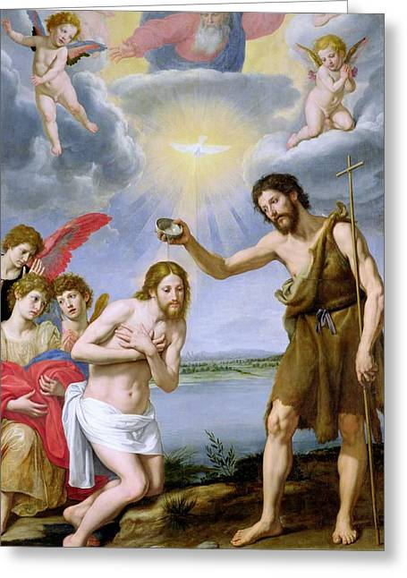Baptism Greeting Cards - The Baptism of Christ Greeting Card by Ottavio Vannini