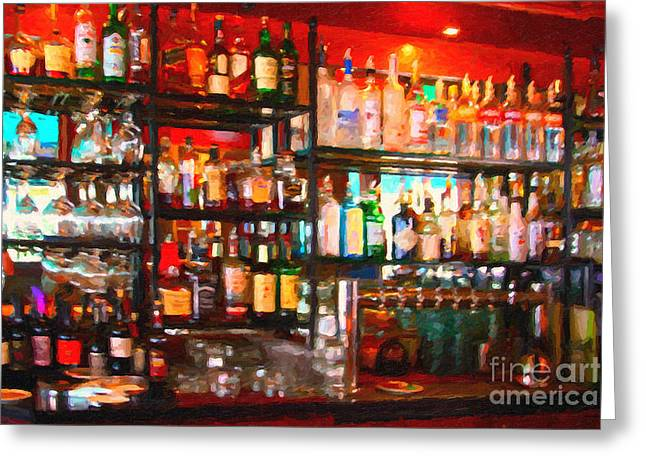 Hangout Greeting Cards - The Bar Greeting Card by Wingsdomain Art and Photography